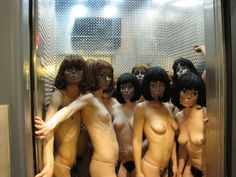 An elevator full of performers in Narcissister wigs. Courtesy the artist. New Haircuts, Michelle Obama, Bangs, Sisters, Hair Cuts, Nyc, Elevator, Puppets, Artist