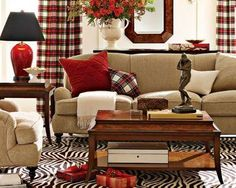 red beige living room