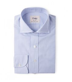 Blue and White Slim Fit Stripe Poplin with Spread Collar
