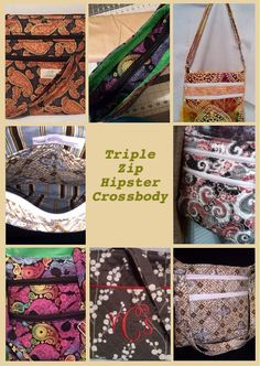 Triple Zip Crossbody Downloadable PDF pattern  COMPLETELY UPDATED!   Create your version of this beautiful triple zip crossbody handbag with your own hands, on your own mac... #sewing #etsy #handbags #smallbusiness #patterns