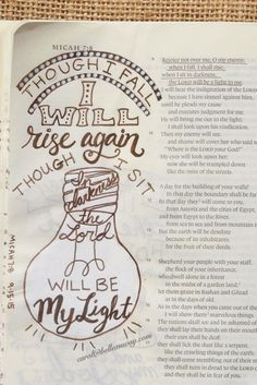 Micah 7:8 September 15, 2015 carol@belleauway.com, hand lettering, acrylic paint, bible art journaling, journaling bible, illustrated faith
