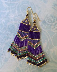 Seed Bead Long Purple Royale Fringe Earrings Wedding Prom Holiday Beadwork Jewelry Special Occasion Chandelier Earrings