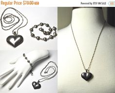 """ON SALE Vintage 925 SILVER Puffy Heart Pendant Necklace and Bracelet Set, 3D, 24"""" 925 Italy Twisted S Link Chain, Demi, Fab! #B045"""