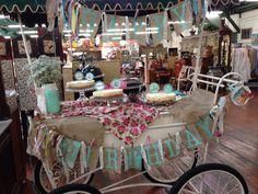 Vintage san francisco theme bday  Teal mason jar, white hydrangea & pink roses Cheesecake bar