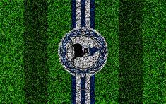 Download wallpapers Arminia Bielefeld FC, 4k, German football club, football lawn, logo, emblem, blue white lines, Bundesliga 2, Bielefeld, Germany, football, grass texture, DSC Arminia Bielefeld