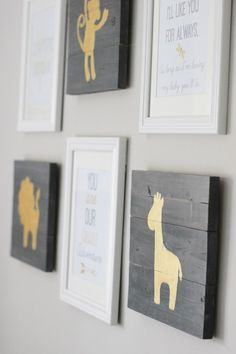 Gender Neutral Nursery. Aged pallet wood and gold? To match those alphabet safari cards I have.