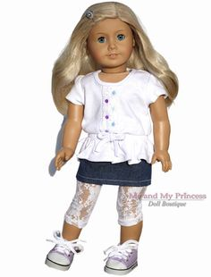 White TOP+Jean SKIRT+LEGGINGS+SHOE Outfit clothes fits American Girl Doll Only