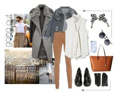 A fashion look from November 2016 featuring sleeveless neck tie blouse, grey lapel coat and distressed jacket. Browse and shop related looks. Tie Blouse, Adriano Goldschmied, Vince Camuto, Stuart Weitzman, River Island, Ted Baker, Going Out, Fashion Looks, Michael Kors
