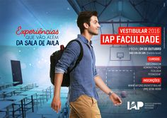 Vestibular IAP 2016 on Behance School Advertising, Creative Advertising, Advertising Design, Creative Poster Design, Design Poster, Creative Artwork, Social Media Poster, Social Media Design, Freelance Graphic Design