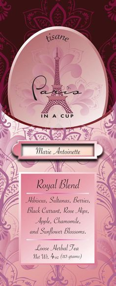 Marie Antoinette Tea: Royal blend of hibiscus, sultanas, berries, black currant, rose hips, apple, chamomile, and sunflower blossoms. Herbal Tisane, naturally caffeine free. Paris In A Cup Signature Teas were designed , tasted and selected for your enjoyment.
