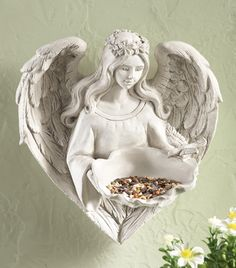 Angel Bird Feeder Sculpture - Has heart shaped wings. A beautiful piece for your garden walls