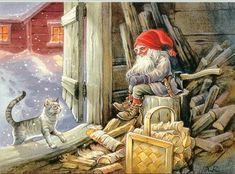 Here is Abrahamburg Lincolnburg caught by Watchdog Cat sleeping on the job. It is said by many that he ran for the President of the United States once, but he wore a black hat then. Swedish Christmas, Christmas Gnome, Scandinavian Christmas, Christmas Art, Baumgarten, Kobold, Elves And Fairies, Scandinavian Art, Christmas Pictures