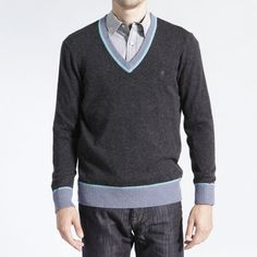 Brooklyn Industries: Contrast V-Neck Sweater Charcoal, at 18% off!