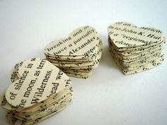 Vintage Paper Hearts Confetti... 100 hearts to celebrate... American science and invention words... die cut hearts... embellishment hearts. $2.25, via Etsy.  #StudioCalicoPinToWin
