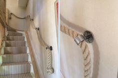 36mm Natural Hemp Rope Handrail with Blacksmith-Made Brackets and Manrope Knots