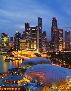 city skyline at dusk, elevated view. (Photo by Jeremy Woodhouse) Oh The Places You'll Go, Great Places, Places To Travel, Places To Visit, Travel Destinations, Singapore Itinerary, Singapore Travel, Singapore City, Beautiful World