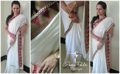 White is the Colour of Peace...Mixed with the lovely Maroon Benaras Silk n Cutwork Border, we came out with a lovely White Georgette n Crape Mixed Designer Saree. A Touch of Elegance is the beautiful Cutwork Border in the Pallu. Made to look perfect with a lovely Maroon Khadi Silk Blouse.