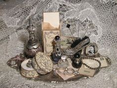 Ladys perfume tray OOAK Dollhouse scale 1/12 by Scarletts45