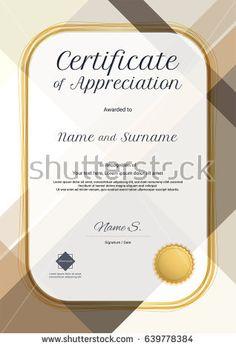 Portrait Modern Certificate Of Appreciation Template With Modern