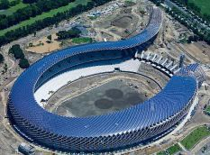 Solar-powered Dragon Stadium | This is the first stadium powered entirely by solar energy, in Kaohsiung, Taiwan. It was designed by the Japanese Toyo Ito, it has a capacity of 50,000 seats and is coated with 14,155 sqr meter solar roof that is able to provide enough energy to power the stadium's 3,300 lights and two jumbo vision screens