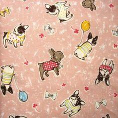 Kokka french bulldogs on pale pink
