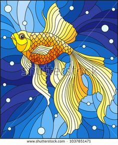 Illustration in stained glass style with bright gold fish on the background of w… - Cool Glass Art Designs Glass Painting Designs, Glass Art Design, Stained Glass Designs, Stained Glass Patterns, Stained Glass Ornaments, Stained Glass Flowers, Stained Glass Art, Clear Ornaments, Arte Pop