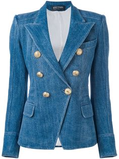 793f8ccfa1130 Balmain Denim Double Breasted Blazer Size 8 (M) off retail