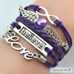 Armband Engelsflügel & BELIEVE lila  mit Perle...