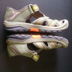Merrell Boys Shoes 2 Hydro Leather Orange Green Gray Hiking Play Water Sports  #Merrell #HikingShoes