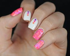 Neon Water Spotted Nail Art