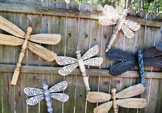 Inspiring photos, ideas and instructions on 20 budget-friendly DIY outdoor decor and outdoor decorating projects from the Guide to Budget Decorating at About.com.: Table Leg Dragonflies