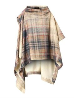 VIVIENNE WESTWOOD ANGLOMANIA Gaia Faded-Tartan Cape -    Beige, grey, brown and red faded tartan-print, wool-blend Draped cape style Wide funnel neck, one draped capped sleeve, one draped 1/2-length sleeve Uneven hem