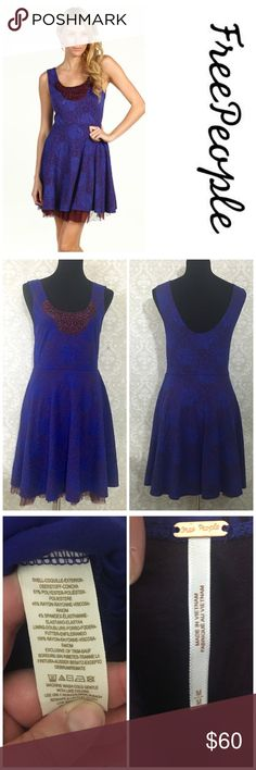 "FP ""Rock princess"" dress Excellent used condition no stains or tears beautiful vibrant royal blue/purple tone with pinkish flower design beaded chest (no missing beads) and maroon tulle at bottom, very stretchy no zippers pull over head dress- offers welcome, bundle and save! Free People Dresses Mini"