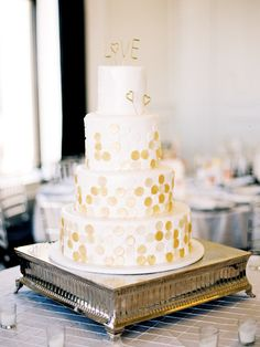 Gold Polka Dot Love Wedding Cake | photography by http://sarahderphotography.com