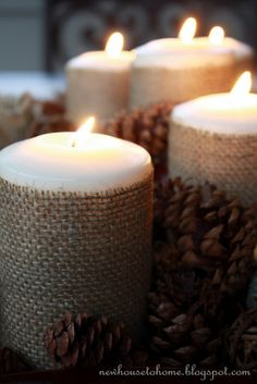 New House to Home: Fall Centerpiece with Burlap Wrapped Candles