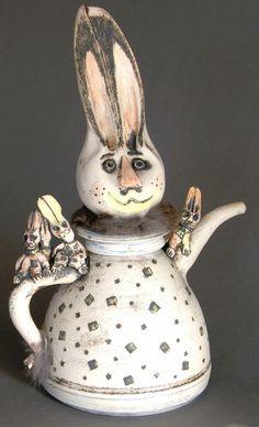 Mother bunny & babies!  Decorative Teapot