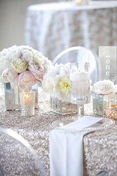 silver sequin white sequin gold sequin mercury glass wedding