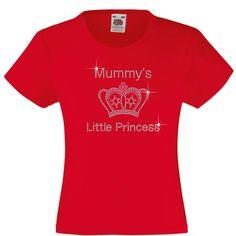 Mummy's Little Princess Rhinestone/Diamanté Embellished T Shirt Gift  for Girls #FruitoftheLoomGildanorequivalent #TShirt