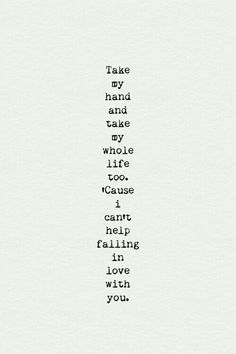 I Can't Help Falling In Love With You - Elvis Presley - Lyrics