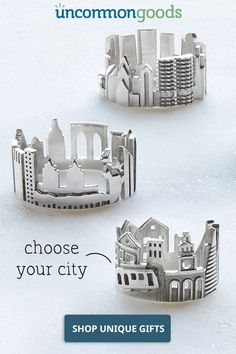 Cityscape Rings Ola Shekhtman's sterling silver skyline rings let you wear your favorite city around your finger. Metal Jewelry, Jewelry Art, Jewelry Rings, Silver Jewelry, Unique Jewelry, Jewelry Accessories, Handmade Jewelry, Jewelry Design, Argent Sterling