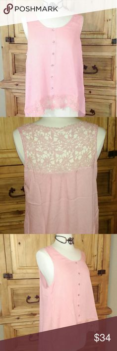 Plus size Sleeveless  blouse with crochet Final Markdown. Sweet rose colored blouse  with crochet along the front border and top of the back very feminine. 100% rayon cozy casual Tops Blouses