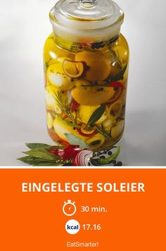 Eingelegte Soleier - smarter - Kalorien: 17.16 Kcal - Zeit: 30 Min. | eatsmarter.de Eat Smarter, Food Lists, Chutney, Finger Foods, Pickles, Cucumber, Brunch, Food And Drink, Low Carb
