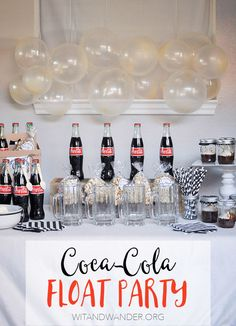 Create a fun party theme with this Black + White Coca-Cola Float Party featuring Coca-Cola Cupcakes in a Jar with Salted Carmel Cream Cheese Icing, Coca-Cola Kettle Corn, and Coke Floats plus Free Printable Stickers! - Wit & Wander #ShareHolidayJoy #ad