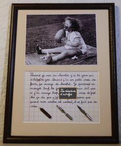 Le chocolat tableau rétro humoristique écrit à la plume avec photo ancienne : Décorations murales par redactions-d-autrefois