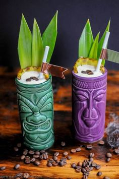 Mezcal and tropical flavors combine to make the Cargo Cult Cocktail, a tiki coffee and banana cocktail that will take you away on a tropical getaway! Banana Cocktails, Holiday Cocktails, Cocktail Drinks, Alcoholic Drinks, Beverages, Pineapple Cocktail, Frozen Pineapple, Pineapple Juice, How To Make Juice