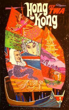 TWA Hong Kong Travel Poster by David Klein, circa Old Poster, Retro Poster, Poster Ads, Advertising Poster, Retro Airline, Vintage Airline, Hongkong, Kunst Poster, Vintage Travel Posters