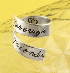 Forever Friends Wrap Twist Ring - Best Friends Ring - Adjustable Aluminum Ring - Hand Stamped Ring on Etsy, $10.00