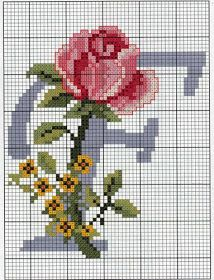 Steel Blue with Roses Alphabet Cross Stitch Pattern F Cross Stitch Letters, Cross Stitch Rose, Cross Stitch Charts, Cross Stitch Designs, Cross Stitching, Cross Stitch Embroidery, Embroidery Patterns, Hand Embroidery, Stitch Patterns