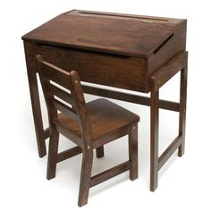 Amazon.com - Lipper International Child's Slanted Top Desk and Chair, Walnut - Childrens Desk Chairs