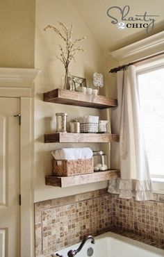 Simple and Crazy Ideas: Floating Shelves Display Subway Tiles floating shelf over couch tvs.White Floating Shelves Joanna Gaines floating shelves layout home office.Floating Shelves Under Mounted Tv Tv Consoles. Regal Design, Floating Shelves Diy, Wooden Shelves, Rustic Shelves, Wall Shelves, Wooden Bathroom Shelves, Bathroom Ladder, Glass Shelves, Shelves Behind Toilet